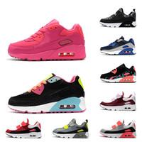 zapatillas de deporte de los muchachos al por mayor-Nike Air Max 90 Laces Slip-on Zapatos para niños 90 Niños Niños Niños Zapatillas de deporte Zapatillas de deporte Negro Blanco Rosa Azul Volt niño niños zapatillas 26-35