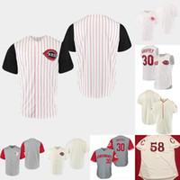 mini tezgah toptan satış-Cincinnati Jersey Kırmızı Beyaz 1999 1967 Beyaz Lacivert 1919 Krem 1912 1969 Johnny Tezgah Barry Larkin Chris Sabo Reds Retro Beyzbol Formaları