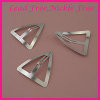 Wholesale womens clips resale online - 20PCS cm Sliver Large metal Triangle hair Clips for Womens girls snap clips hairpins side hair barrettes for thick