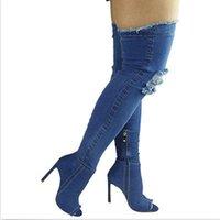 ingrosso jeans sopra-Moda Blue Hole jeans sexy stivali del tacco alto sopra il ginocchio 2017 Stretch Stivali Open Toe Coscia Denim