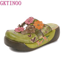 Wholesale clogs for men resale online - GKTINOO Flower Slippers Genuine Leather Shoes Handmade Slides Flip Flop On The Platform Clogs For Women Woman Slippers