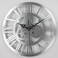 большие механические настенные часы оптовых-Европейский античный передач настенные часы старинные механические часы передач большая стена для искусства дома гостиная украшения