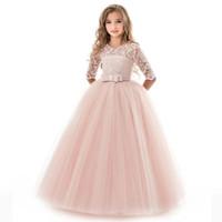 grand piano achat en gros de-Livraison gratuite nouveaux grands enfants robe de mariée princesse manches dentelle robe en dentelle costumes de piano filles 5 couleurs