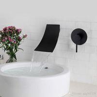 siyah banyo lavabo karıştırıcı dokunun toptan satış-Pirinç Duvara Monte Havzası Musluk Şelale Musluk Tek Kolu Banyo Mikser Dokunun Sıcak Soğuk Lavabo Musluk Siyah Krom