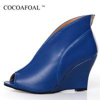 blaue high heel schuhkeile großhandel-Cocoafoal Woman Wedges Schuhe Weiß Blau Schwarz Mode Sexy Stiletto High Heels Schuhe Plus Größe 34 - 43 Peep Toe Pumps