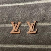 ingrosso 14k oro ha riempito i monili delle donne-Alta qualità deluxe brand Design titanio acciaio 18 carati oro rosa pieno lettera fascino orecchini per le donne uomini gioielli estivi
