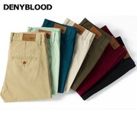jeans verde caqui al por mayor-Moda-Venta al por mayor- Denyblood Jeans Mens Slim Straight Chino Pants Darked Wash Mens Slim Chinos Casual Pants Black, Army Green, Khaki 7Colours
