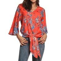 kadın yarı gömlekler toptan satış-Güzel Yaz Bahar Yarım Kollu Artı Boyutu Kadın Bluz Tops Womens Kimono Gömlek Blusas Çiçek Baskı Lace Up Casual Şifon Üst