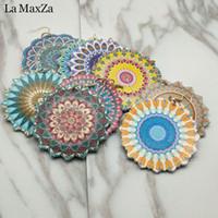 Wholesale handmade big flower resale online - Bohemia Handmade Wood Wooden Earings for Women Jewelry Flower Print Drop Dangle Earing Long Big Earrings Jewelry Accessories
