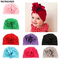 белые детские шапки оптовых-OLN Baby Flower  Hat Children Head Cap Plain Simple Cute Hats Fashion Solid Unisex Beanies Hat White Blue Pink OLN059H