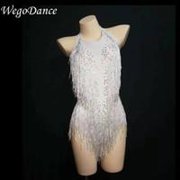 zeige bauchtanz kostüme großhandel-Heißer Verkaufs-weißer glänzender Fransenrhinestones-Bodysuit-Tanz-Show-einteiliger reizvoller Kostüm-Frauen-Leistungs-Trikotanzug Freeshipping