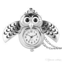baykuş saati kolye toptan satış-Güzel Küçük Gümüş Baykuş Tasarım Fob Kuvars Pocket saat ile Kolye Zincir Kolye Saat Hediye Çocuk Erkek Kızlar için
