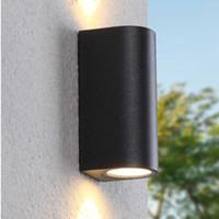 siyah gövde ışıkları toptan satış-220 V 110 V Işık IP44 LED Siyah Dış Duvar Lambası Dış Su Geçirmez Ev Dışında Sundurma Kapısı Balkon Bahçe Veranda için