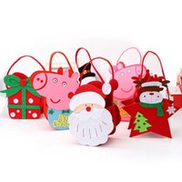 Wholesale children christmas gift bags resale online - Christmas Candy Bag Handbag D Gift Pouch Snowmen Pig Bags for Kids Children Christmas Decoration HHA574