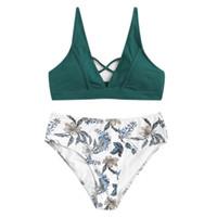 neues heißes bikini mädchen großhandel-Frauen Bikini Set Bügel Mittlere Taille Gepolsterte Sexy Strand Blumendruck Anzug Mädchen Bodycon Mode Neue Heiße Badebekleidung 2019 # YL5