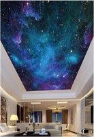 papéis de parede 3d bonitos venda por atacado-Personalizado Grande foto 3D papel de parede 3d murais de teto papel de parede bonito céu estrelado HD noite zenith teto mural papel de parede