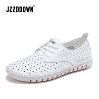 Wholesale lace female moccasins resale online - Genuine Leather ladies flats sneakers shoe Women casual loafers shoes female Hollow moccasins White Lace up canvas Boat