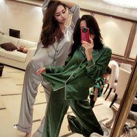 многоцветная пижама оптовых-Шелковый многоцветный набор пижамы расширение код женщины пижамы с длинным рукавом мода пижамы леди домашняя одежда полная длина пижамы TTA 58