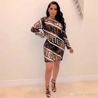 Wholesale sequin dresses resale online - FF Letters Designer Womens Dresses Printed Sequins Sexy Grenadine Womens Dresses Perspective Casual Womens Clothing