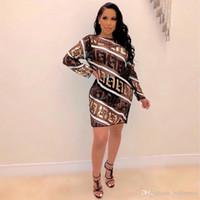 robes sexy pour femmes achat en gros de-FF Lettres Designer Femmes Robes imprimées Paillettes sexy Grenadine Femmes Robes Perspective Vêtements décontractés Femmes