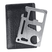 açık mini bıçak kartı toptan satış-Mini 11 1 Survival Pocket Knife Kredi Kartı Çok fonksiyonlu Survival Bıçak Kamp Açık Için 10 adet