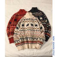 ingrosso maglione harajuku maglione-Maglione di Natale degli uomini 2018 Mens Winter Harajuku Animal Pullover Maglione Designer maschile rosso inverno dolcevita vestiti
