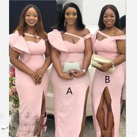 Wholesale sexy low cut wedding dresses resale online - Pink Sexy Bridesmaid Dresses For Wedding Ruffles One Shoulder Low Cut High Slit Maid Of Honor Gowns Plus Size African Bridesmaid Dress Cheap
