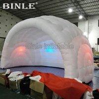 tienda inflable de la boda al por mayor-Más popular 5.5X4X3.5m aire blanco cúpula inflable carpa de bar semi inflable con luces de colores para eventos de bodas