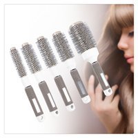 Wholesale nano ceramic hair online - New Nano Thermal Ceramic Ionic Round Barrel Hair Brush Comb for Hair Drying Styling Curling Adding Hair Volume