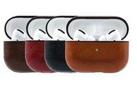 leder kopfhörer fällen großhandel-Luxus-Leder-Kasten für AirPods Pro-Schutzüberzug für Airpods Pro Ladebox Mit Anti-verloren-Haken-Mode-Kopfhörer-Kasten