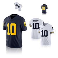 xxl 18 heiß großhandel-10 Tom Brady College Jersey NCAA Michigan Wolverines Fußballtrikot Heißer Verkauf 18 19 NEUE Spitzenqualität
