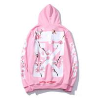 sudaderas rosa para hombres al por mayor-Tide brand classic sweater OFW cherry plus velvet sudadera con capucha de moda casual de alta calidad rosa melocotón hombres y mujeres pareja chaqueta
