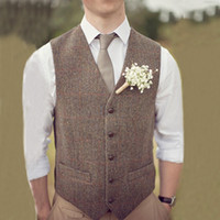 erkek giyim düğün yelek toptan satış-2019 Ülke Için Kahverengi Damat Yelekler Düğün Yün Balıksırtı Tüvit Custom Made Slim Fit Erkek Suit Yelek Çiftlik Balo Elbise Yelek Artı Boyutu