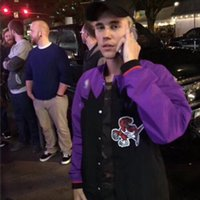 ingrosso manicotto del blocco di baseball-Giacca da basket Justin Bieber Uomo Giacca da baseball hip hop Manica lunga Zip Up Casual Cardigan Cappotto Capispalla Streetwear NCI0720