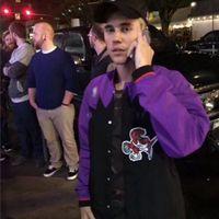 baseball-basketballjacken großhandel-Justin Bieber Basketball Jacket Men Hip Hop Baseball-Jacke Langarm-Zip oben beiläufige Strickjacke Mantel-Oberbekleidung Street NCI0720
