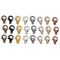 rodyum kancaları toptan satış-50 adet 10 / 12mm Metal Istakoz Klipsler Hooks Altın / Rodyum Istakoz Klipsler Kanca Takı Yapımı Için Bulma DIY Kolye