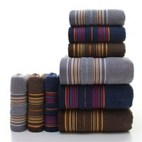 braune handtücher groihandel-1pcs Brown Bath Towels for Adults Kids Cotton Soft Jacquard Sheared Striped Hand Face Beach Towel Absorbent Bathroom Product