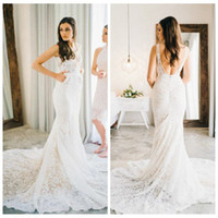 Wholesale romantic sexy mermaid wedding dresses resale online - Romantic V Neck Lace Mermaid Wedding Dress Backless with Court Train Wedding Dresses with Pockets Boho Wedding Gowns vestidos de noiva
