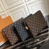 fermuar kozmetik siyah çantası toptan satış-Tasarımcı Cüzdan mektup çiçek Kahve Siyah kafes erkek çanta kadın cüzdan Kozmetik çantası fermuar Tasarımcı Çanta çantalar