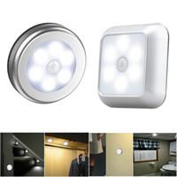 Wholesale battery lighting for closet resale online - 6 LED Night Light Battery Powered Motion Sensor Light Step Stair Closet Light for Home Kitchen Hallway Cabinet Closet Stairs Bathroom