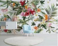 3d blumenmaterial großhandel-Persönliche Seide Material 3d Tapete tropischen Regenwald Pflanze Kaktusblüten Moderne Inneneinrichtung Tapete