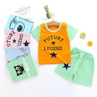 kinder baumwoll-polyester-t-shirts großhandel-Karikatur-Baby-Kleidungs-Satz-Sommer 2019 neue Art-Säuglingskleidung-Baby-Baumwollkinderkurzschluss-Hülsen-T-Shirts Tops + Shorts