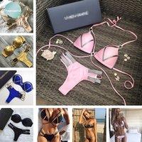 sıcak seksi bikini dize toptan satış-2019 Pembe Kadın Bikini Seti Seksi Yastıklı Mayo Mayo Saç bandı Bikini Dize Thong Beachwear Sıcak Kadınlar Yıkanma Suit Push Up