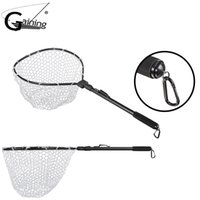 filet en caoutchouc achat en gros de-Gaining Telescopic Fishing Net Landing Net of Aluminum Alloy Frame Small Rubber Mesh Magnetic Clip Lanyard Fly Fishing Net