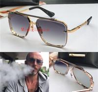 vintage rahmenlose sonnenbrille großhandel-New Luxus Sonnenbrille Männer Design Metall Vintage Sonnenbrille Mode-Stil Quadrat rahmenlose UV 400 Linse mit Original-Etui