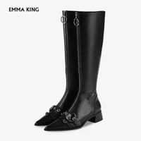 Wholesale knight belts resale online - 2019 Autumn New Knee high Boots Women Metal Rivet Belt Buckle Pointed Toe Thick Fashion Zipper Knight Boots Women