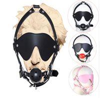 cabeza de bola bdsm al por mayor-Boca de cuero de la PU de la máscara de la máscara de la cabeza de la respiración dura de la cabeza, juguetes adultos del sexo de BDSM para la esclavitud del marido y de la esposa
