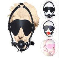 rotule bdsm achat en gros de-Tête en cuir PU masque bouche dure de souffle érotique, jouets sexuels adultes BDSM pour esclavage mari et femme
