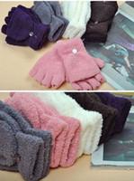Wholesale cover girl hand online - Women s Winter Half Finger Gloves Coral Velvet Flip Cover Warmer Mittens Girl Student Hand Warmer Gloves TC181120