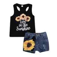 Wholesale kids sleeveless denim tops resale online - Baby Girls Sunflower Vest Tops Denim Jeans Shorts Set Outfits Kid Summer Casual Clothes Boutique Costume Clothing Sets